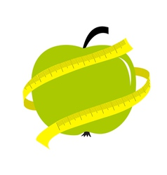Green apple with yellow measuring tape ruler Diet vector image