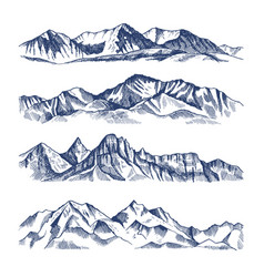 hand drawn of different mountains vector image