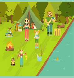 Happy family go camping and fishing vector
