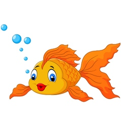 Happy goldfish with bubbles vector