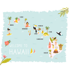 hawaiian map with icons characters and symbols vector image