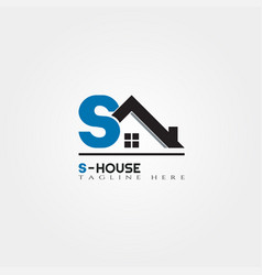 House icon template with s letter home creative vector