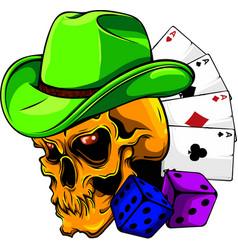 human skull player casino game vector image