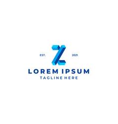 initial letter z block 3d logo design vector image