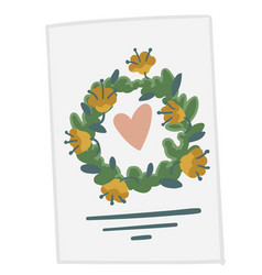 invitation card with foliage and heart save date vector image