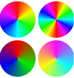 Isolated gradient rainbow circle design set vector image