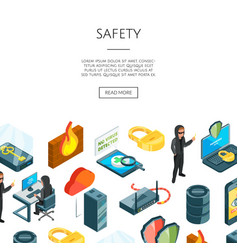 Isometric data and computer safety icons vector
