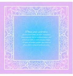 Lace invitation card blue and pink mandala vector