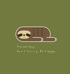 lovely lazy sloth lying on a green background vector image