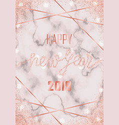 Luxury pink gold glitter happy new year 2019 vector