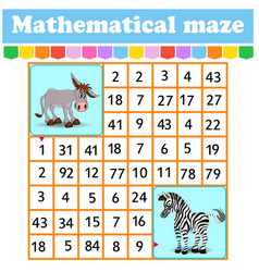 mathematical rectangle maze donkey and zebra game vector image