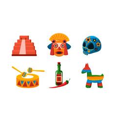 Mexico icons set mexican cultural symbols vector