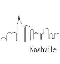 nashville city one line drawing vector image
