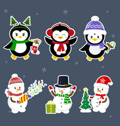 new year and christmas card set stickers of three vector image