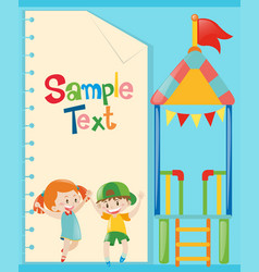 Paper template with kids and playground vector