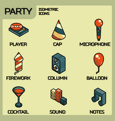 party color outline isometric icons set vector image