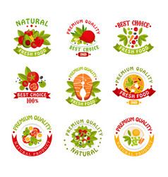 Premium quality food logo templates set natural vector