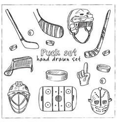 puck hand drawn doodle set isolated elements on vector image