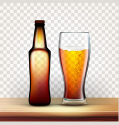 realistic bottle and full glass of red beer vector image