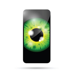 realistic eyeball on a cell mobile phone vector image