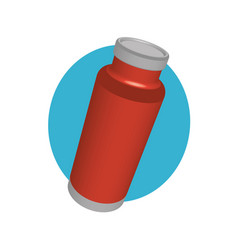 Red coffee thermos in perspective vector
