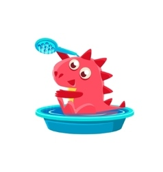 Red Dragon Taking A Bath vector image