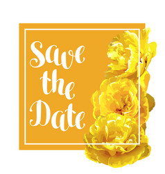 Save the date card with fluffy yellow tulips vector