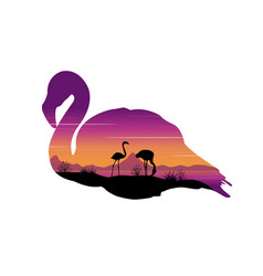 Scene with silhouette flamingo at sunset vector