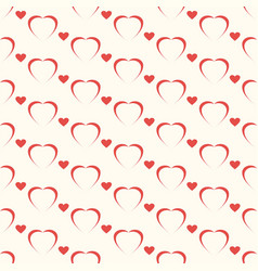 seamless geometric pattern red heart on white vector image