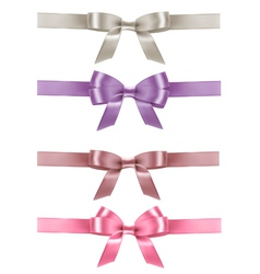Set of colorful gift bows with ribbons vector image vector image