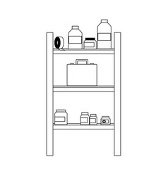 Shelf with first aid kit icon image vector