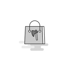 shopping bag web icon flat line filled gray icon vector image