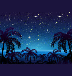 Silhouettes palm trees vector