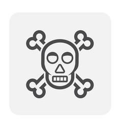 skull icon black vector image