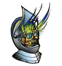 Skull in medieval helmet vector
