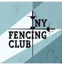 Sports fencing club poster with foil vector