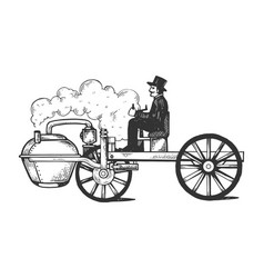 steam engine car engraving vector image