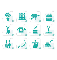 stylized garden and gardening tools icons vector image
