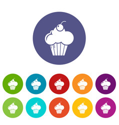 sweet cupcake icons set color vector image