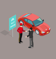 Valet parking service composition vector