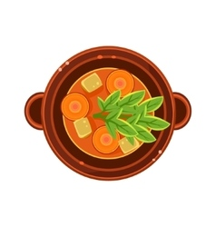 Vegetable and Carrot Soup in a Bowl Served Food vector