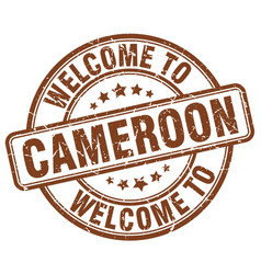 Welcome to cameroon brown round vintage stamp vector