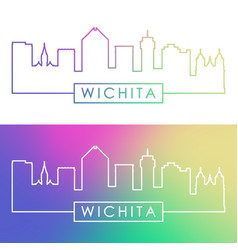wichita skyline colorful linear style editable vector image