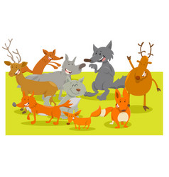 wild forest animal characters cartoon vector image