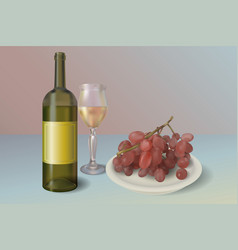 wine background wine bottle with glass and vector image