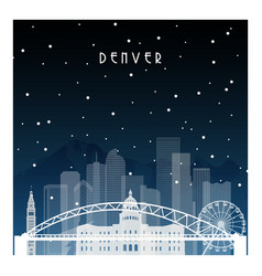 Winter night in denver night city in flat style vector