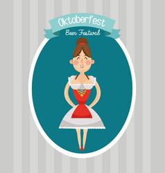Woman cartoon oktoberfest desig vector
