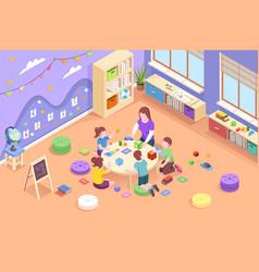 woman teach children count read at kindergarten vector image