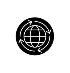 world economy black icon sign on isolated vector image