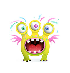 Yellow monster fictional character screaming vector